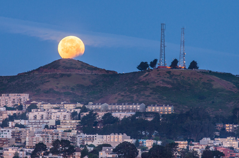 Eclipsing Moon Setting Over Twin Peaks