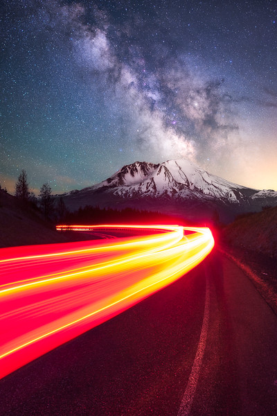 Route 504 leading towards Mt St Helens at night (Washington)