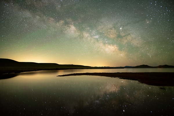 Lake May Milky Way over Antero Reservoir in Park County (South Park), Colorado.  This is a stack of 15 images all averaged together to cancel out noise.