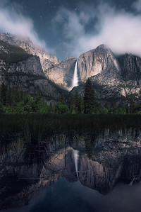 Moonlight illuminating Upper Yosemite Falls, California