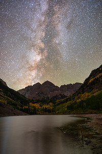 Mid-September at the Maroon Bells, Aspen.  This is a 6-minute exposure using a star tracker.