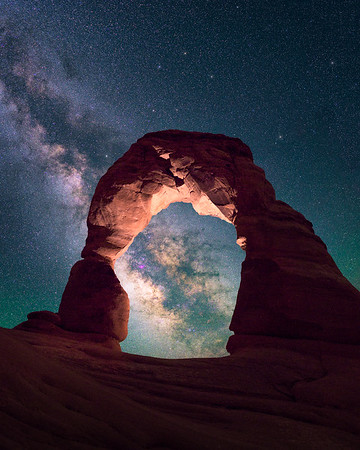 Milky Way aligns behind Delicate Arch - Arches, Utah