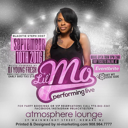 Lil Mo R&B Diva will be performing live @ Atmosphere Sept 10 book your party tickets on sale now spread the word @ lilmoliveatatmosphere.eventbrite.com