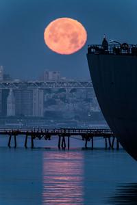 Moonset At Alameda Naval Air Station