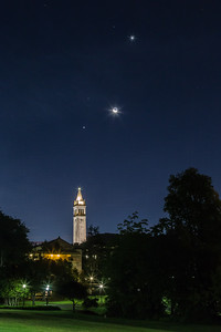 Fiat Lux - UC Sather Tower Campanile  Crescent Moon Venus Jupiter Mars