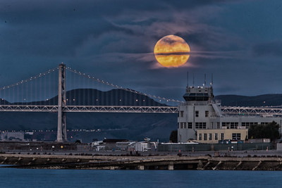 Moonset — Alameda Naval Air Station