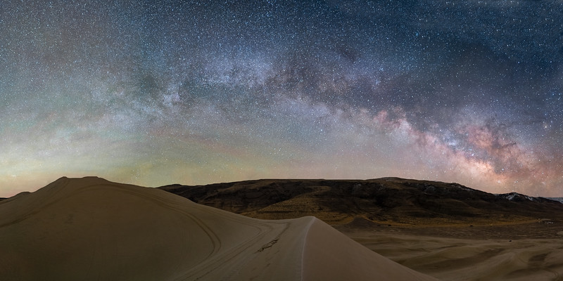 This is a multi shot panorama taken near Fallon Nevada. It is one of the darkest places in the United States