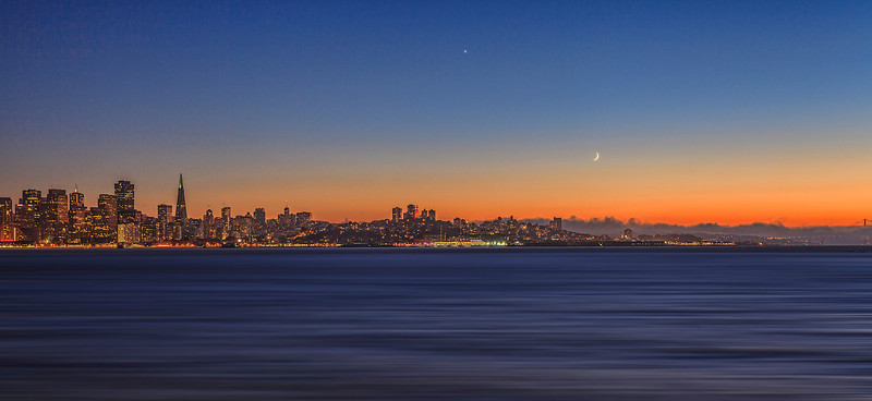 Celestial event and San Francisco Skyline at Sunset