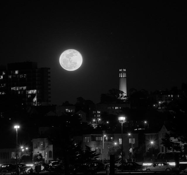 Super Moon next to Coit Tower