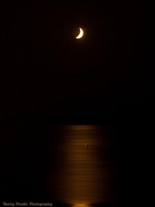 Setting Moon over Presque Isle Bay