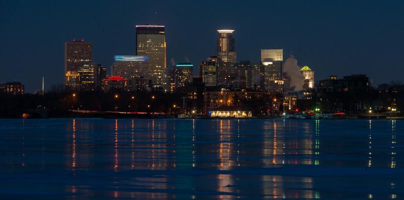 Minneapolis reflection on Lake Calhoun ice