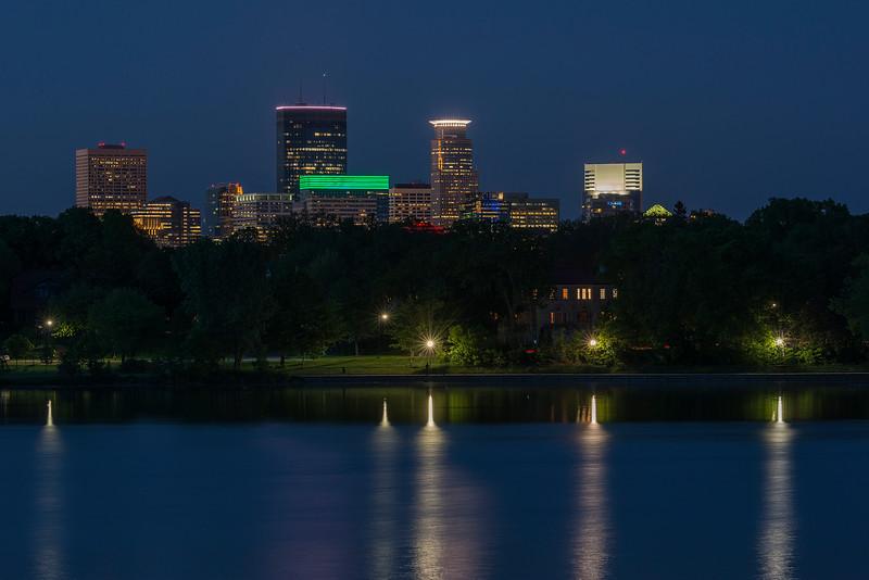 Minneapolis and reflections at Lake of the Isles