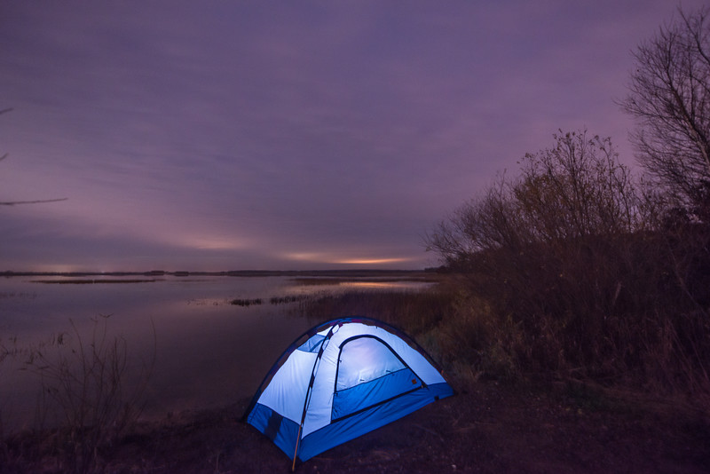 Lighting up the tent on Phantom lake