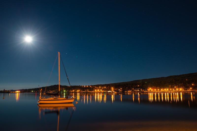 MNLR-12277: Full Moon on Grand Marais Harbor