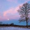 Setting full moon on the prairie