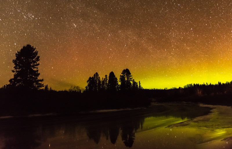 Brule River and Aurora borealis