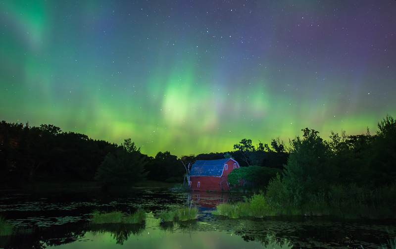 Aurora Borealis and Red Barn