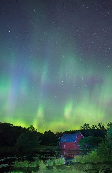 Auroras over the Red Barn