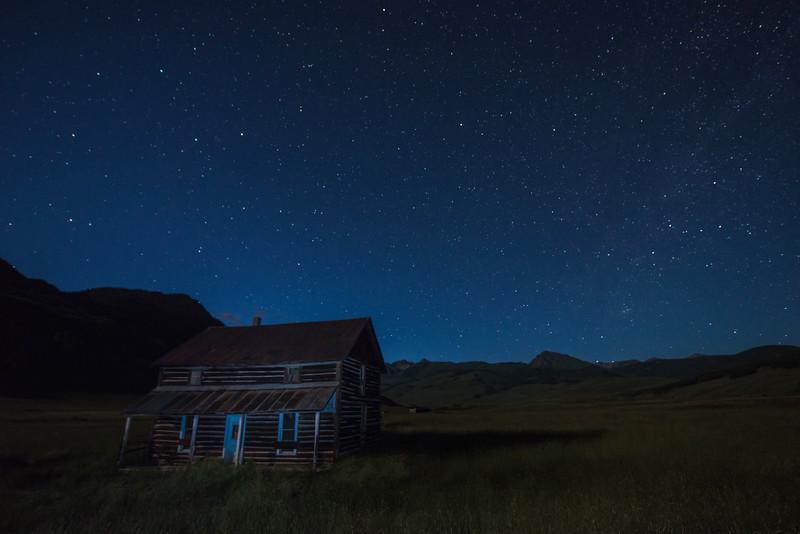 Starry night over Colorado homestead