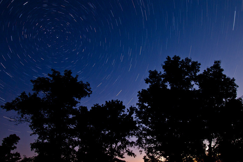 MNGN-11136: September Star Trails <i>(25 min exposure at around 4:00AM, the light on lower right was coming from a farm house--What is he doing up at this hour of the day?</i>)