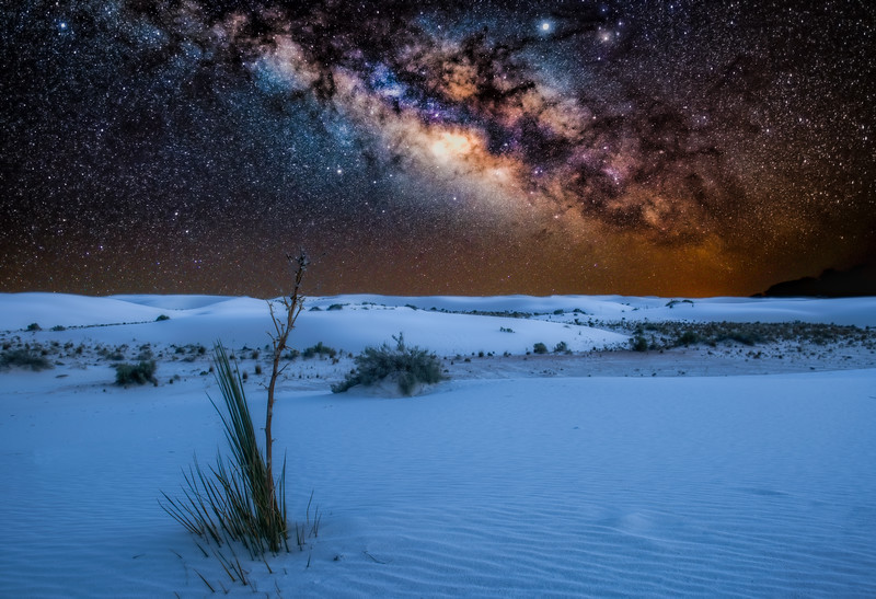 The white sand under the stars
