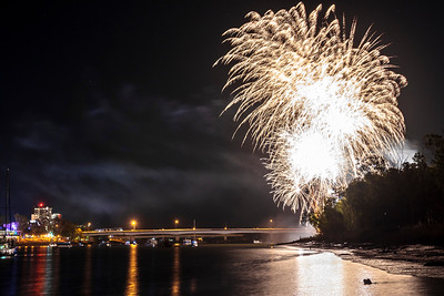 Midnight fireworks New Years Eve Rockhampton