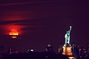 Moonrise with the Statue of Liberty