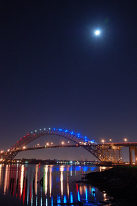 The Bayonne Bridge in the moonlight.
