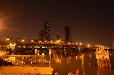 Train bridge in Jersey City.