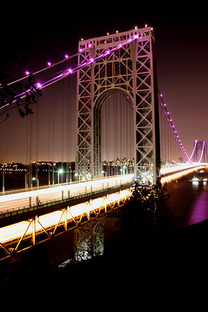 GWB 80th Anniversary & Lit up in purple for breast cancer awareness month 10-23-11