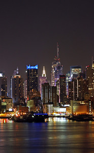 Midtown & Lower Manhattan hudson river skyline 3-31-13 from Midnight to 04:00am