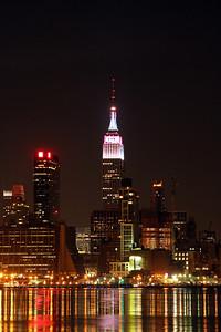 Midtown & Lower Manhattan hudson river skyline 3-31-13 from Midnight to 04:00am