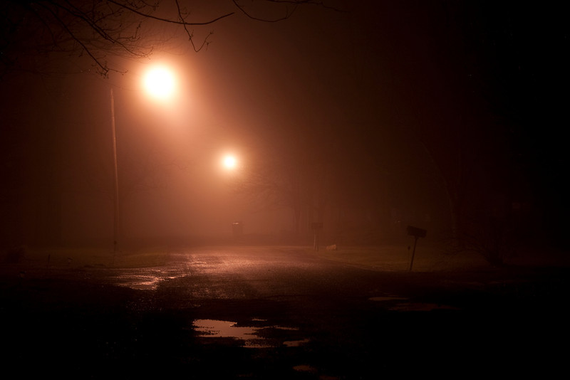 Foggy night on our street.
