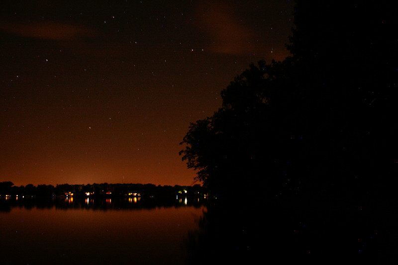 Crooked Lake at night as seen from the nature preserve.