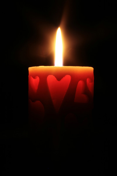 Valentine's day candle looked so neat glowing.