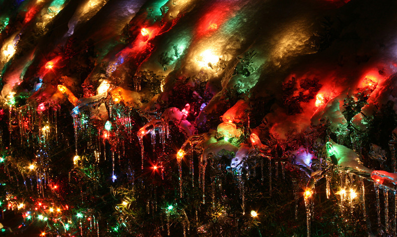 In December of 2008 we had a bad ice storm.  It was a pain for so many, and we didn't have power for nearly a week.  On the bright side, it was beautiful. I loved how the Christmas lights looked under all that ice!