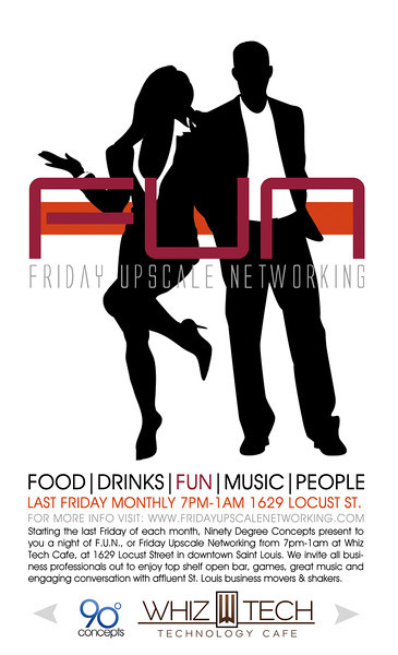 The Last Friday of every Month Whiz Tech Cafe and 90 Degree Concepts offer an evening of FUN... Or Friday Upscale Networking. With an Open Bar, Life size games, and eager business professionals. Let us help you ease the tensions of Networking.