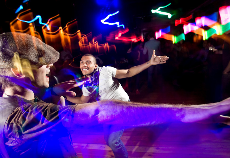 "11/6/08 Dorchester, MA -- From left, Patrick Kelly of Boston and Luie Garcia of Medford mix it up on the dance floor during ""So Dope"" at dbar November 6, 2008.  Garcia says they come every week, especially for the music.  Erik Jacobs for the Boston Globe"