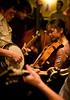 2/26/08 Cambridge, MA -- Members of the band Town Mountain warm up at Tuesday night's bluegrass pickin' party at the Cantab Lounge in Cambridge February 26, 2008.  Erik Jacobs for the Boston Globe