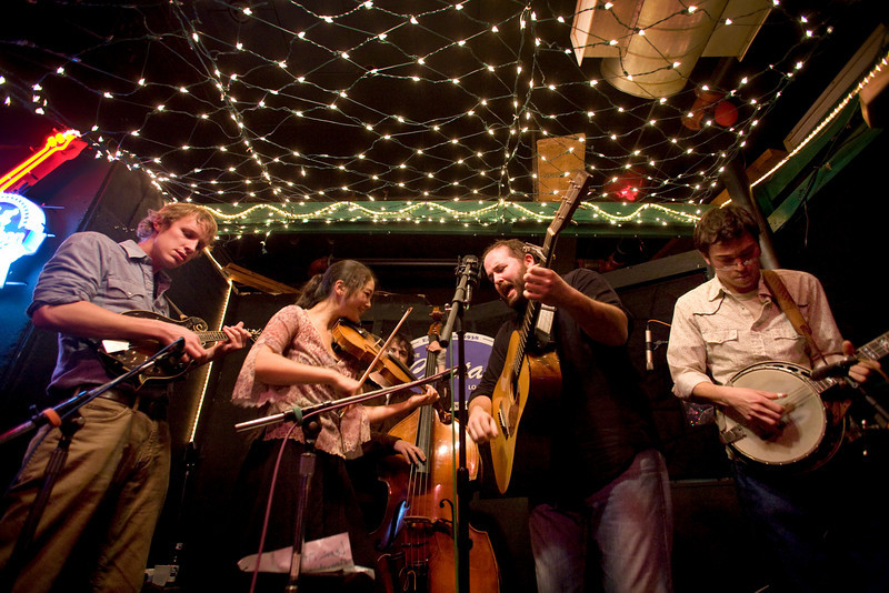 2/26/08 Cambridge, MA -- The band Town Mountain performs at Tuesday night's bluegrass pickin' party at the Cantab Lounge in Cambridge February 26, 2008.  Erik Jacobs for the Boston Globe