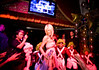 2/6/08 Boston, MA -- Paris Hilton works the stage at The Estate in Boston with little people from Jeff Beacher's Madhouse dressed as Oompa Loompas, February 6, 2008.  Erik Jacobs for the Boston Globe