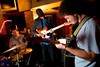 4/29/08 Boston, MA -- From right, Trevor Bahnson, Sam Caswell and Ryan Dryeburg play the Tuesday Night Squabble, a collaboration of friends and musicians who gather for a weekly jam session at Good Life Bar in Boston  every Tuesday.  April 29, 2008.  Erik Jacobs for the Boston Globe
