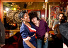 "5/16/08 Cambridge, MA -- Lis Owuor of Boston dressed as ""a hot stewardess circa 1969"" dances with Dante Dalli during Mambo Beat Club at ZuZu in Cambridge, MA May 16, 2008.  Both Owuor and Dalli consider themselves as regulars at the club.  Erik Jacobs for the Boston Globe"