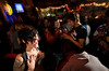 7/24/08 Jamaica Plain, MA -- Hunter Jae Star of Jamaica Plain dances with her best friend during Queeraoke at the Midway Cafe in Jamaica Plain July 24, 2008.  Erik Jacobs for the Boston Globe