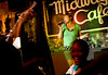 "7/24/08 Jamaica Plain, MA -- A Queeraoke patron who wanted to be known only as Kathleen sings ""Call Me"" by Blondie at the Midway Cafe in Jamaica Plain July 24, 2008.  Erik Jacobs for the Boston Globe"