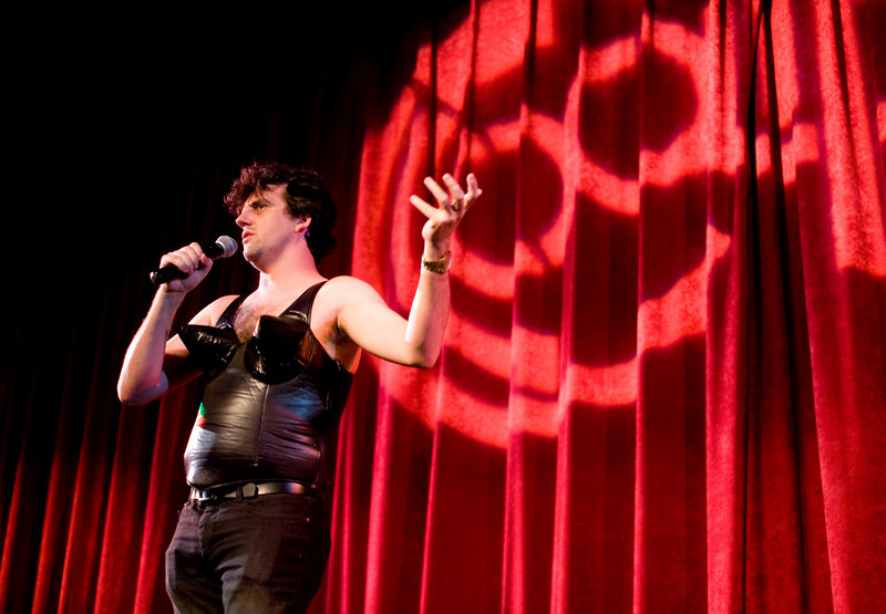 8/9/08 Brookline, MA -- Sing-along host Henri Mazza introduces the audience to the idea of the Madonna Sing-along at the Coolidge Corner Theatre in Brookline, MA August 9, 2008.  Erik Jacobs for the Boston Globe