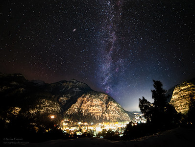 Milkyway and Andromeda Galaxy over Ouray Colorado during 2020 Ouray Ice Fest