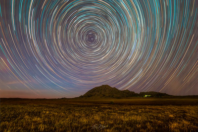Star Trails over Bear Butte.