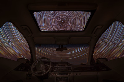Star Trails from inside a vehicle.