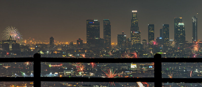 4th of july over downtown Los Angeles